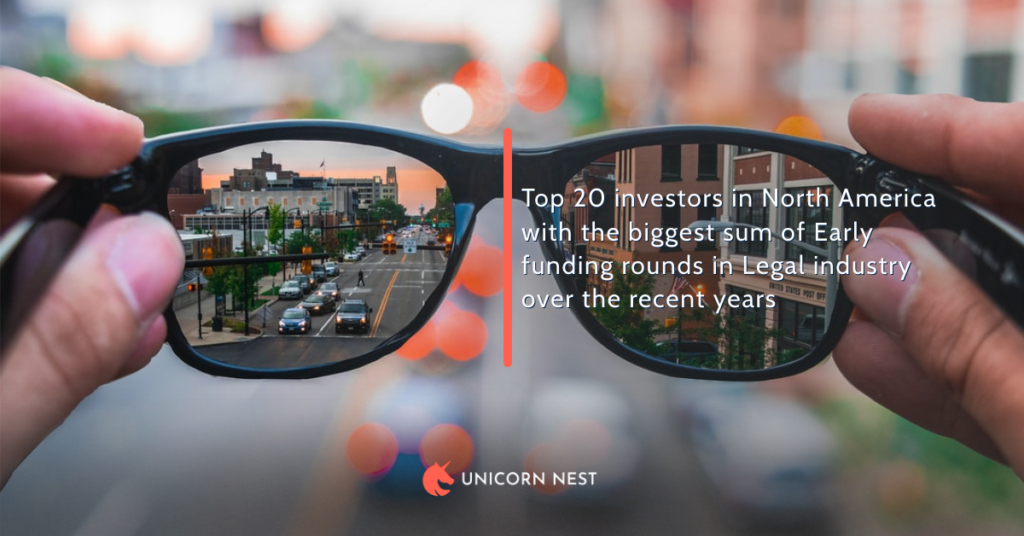 Top 20 investors in North America with the biggest sum of Early funding rounds in Legal industry over the recent years