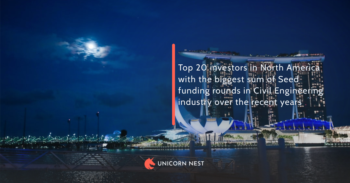 North America: Top 20 investors with the biggest sum of Seed funding rounds in Civil Engineering industry over the recent years