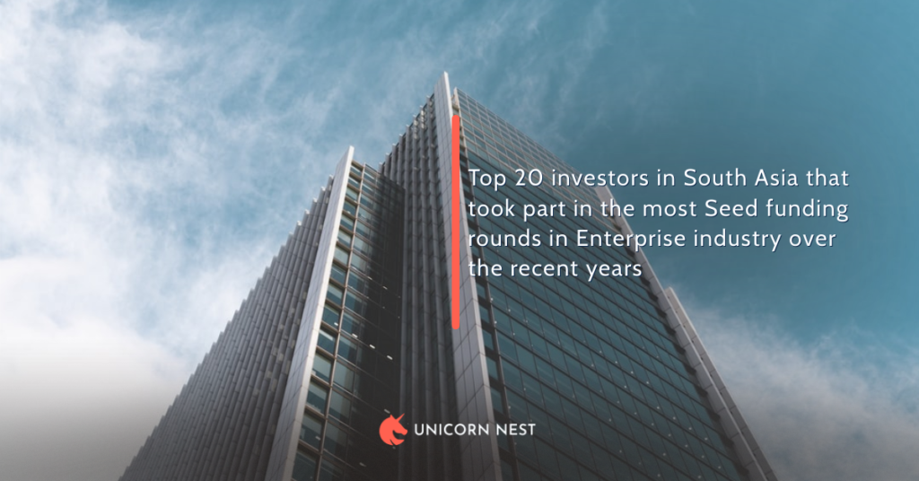 Top 20 investors in South Asia that took part in the most Seed funding rounds in Enterprise industry over the recent years