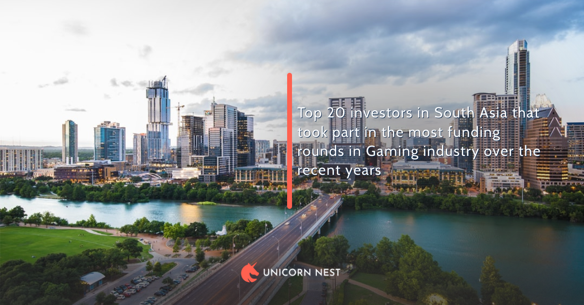 Top 20 investors in South Asia that took part in the most funding rounds in Gaming industry over the recent years