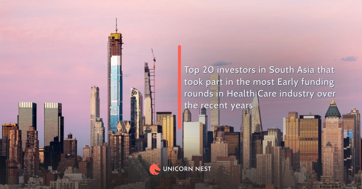 Top 20 investors in South Asia that took part in the most Early funding rounds in Health Care industry over the recent years