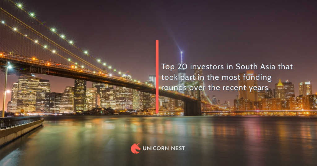 Top 20 investors in South Asia that took part in the most funding rounds over the recent years