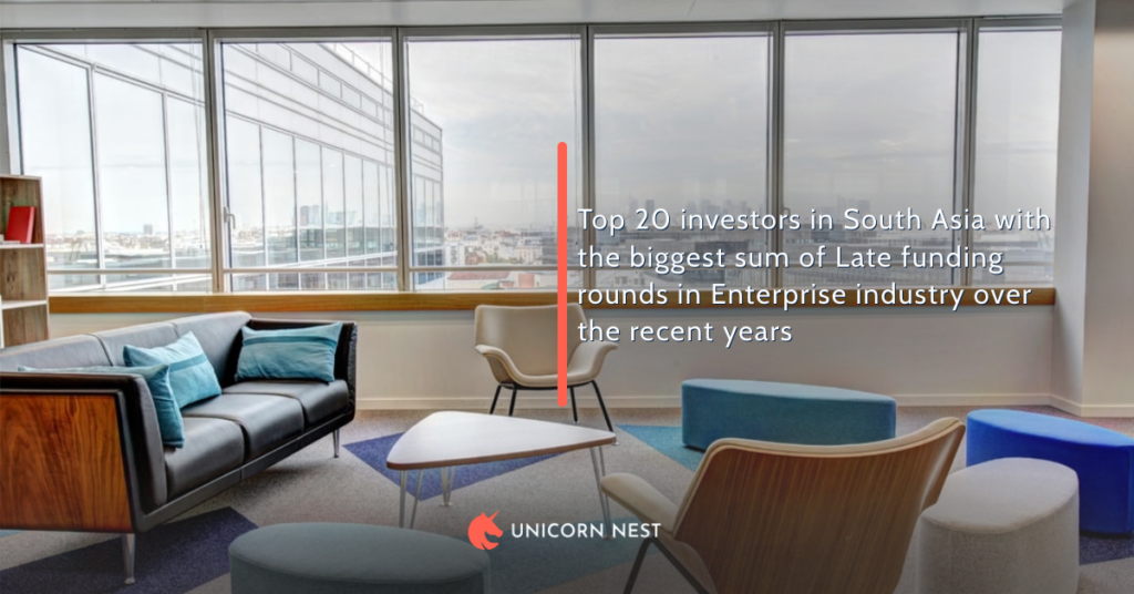 Top 20 investors in South Asia with the biggest sum of Late funding rounds in Enterprise industry over the recent years