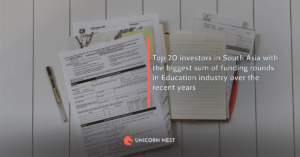 Top 20 investors in South Asia with the biggest sum of funding rounds in Education industry over the recent years