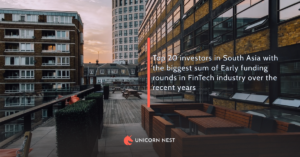 Top 20 investors in South Asia with the biggest sum of Early funding rounds in FinTech industry over the recent years