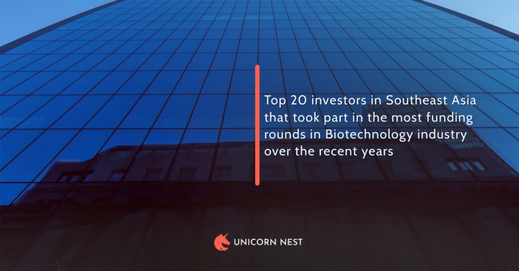 Top 20 investors in Southeast Asia that took part in the most funding rounds in Biotechnology industry over the recent years