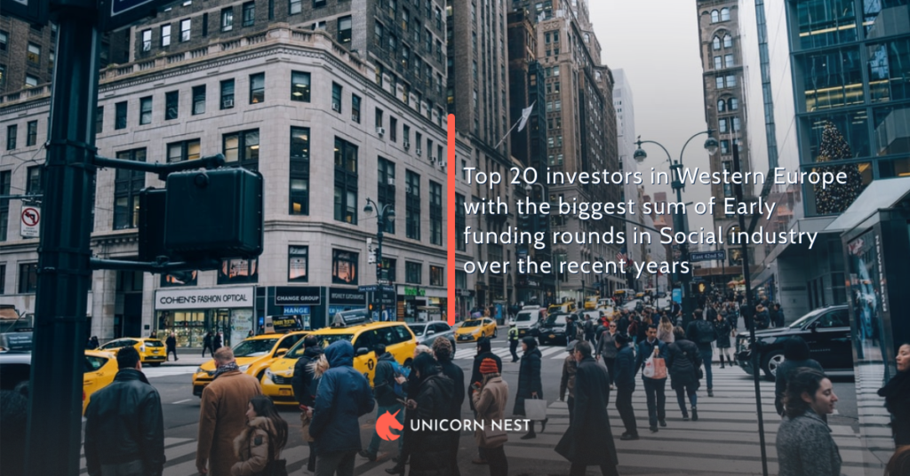 Top 20 investors in Western Europe with the biggest sum of Early funding rounds in Social industry over the recent years