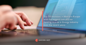 Top 20 investors in Western Europe with the biggest sum of Late funding rounds in Energy industry over the recent years