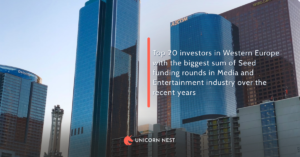Western Europe's Media and Entertainment industry: Top 20 investors in Western Europe with the biggest sum of Seed funding rounds in over the recent 4 years