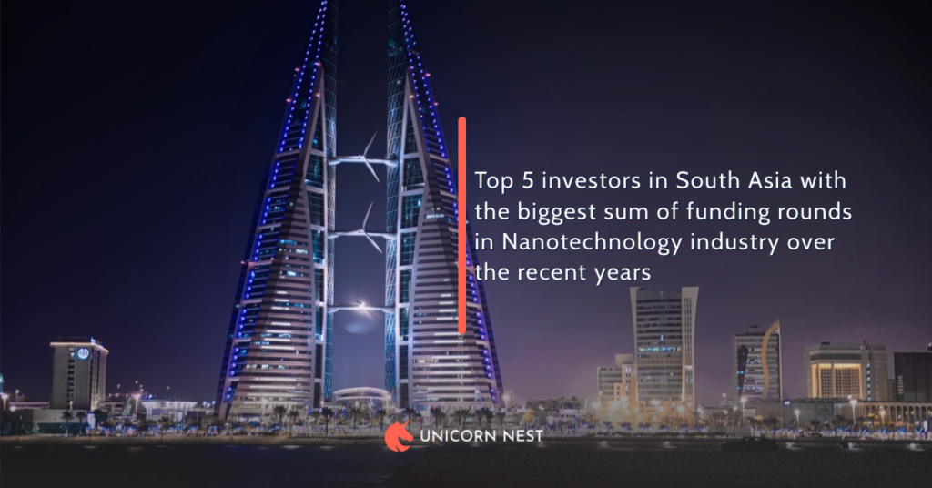 Top 5 investors in South Asia with the biggest sum of funding rounds in Nanotechnology industry over the recent years