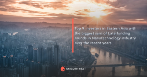 Top 9 investors in Eastern Asia with the biggest sum of Late funding rounds in Nanotechnology industry over the recent years